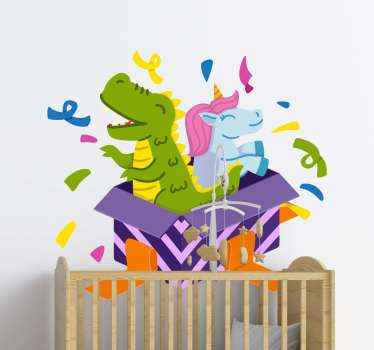 Beautiful illustration of a Dinosaur and unicorn together in a box with colorful confetti around them.  The product is made from quality vinyl.