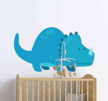 Bonito vinilo de dinosaurio triceratops en color azul para decorar el cuarto de tu hijo. Está impreso con material de calidad y acabado mate.
