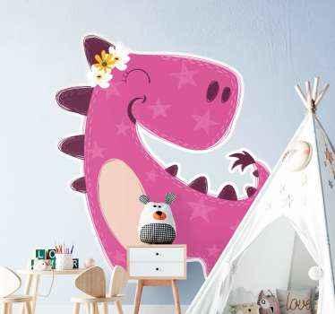 Vinilo de dinosaurio infantil rosa feliz adecuado para el dormitorio de una niña para decorarlo con un ambiente interesante y colorido