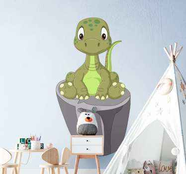 Cute dinosaur wall sticker on a stone and watching it environment. Nice for children bedroom decoration, playroom, nursery, etc.