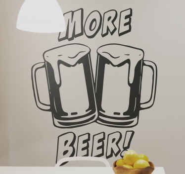 Silhouette hand drawing vinyl decal illustrating two beer glasses in cheers. The design is suitable to decorate a kitchen, bar, dinning, etc.