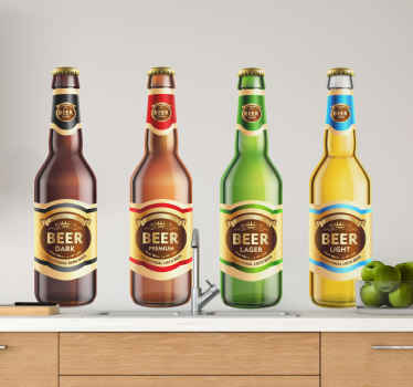 Decorate your space with this top quality decorative beer bottle drink wall decal illustrating different beer drinks. It is self adhesive and durable.