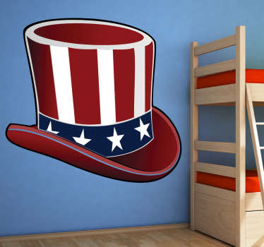 A great hat decal of the one and only, Uncle Sam. A vinyl wall sticker illustrating a hat with the American flag design.
