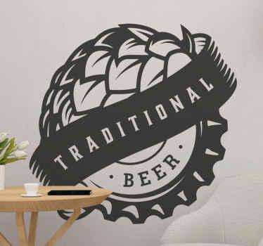 伝統的なロゴのビールドリンクを描いたビニールのウォールステッカーを飲みます。バー、レストラン、キッチンなど、ドリンクを提供するあらゆるスペースに最適です