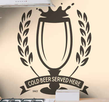 Drink vinyl wall decal for bar, kitchen.  It host the design of a glass filled with drink together with inscription that reads 'cold beer serves here'.