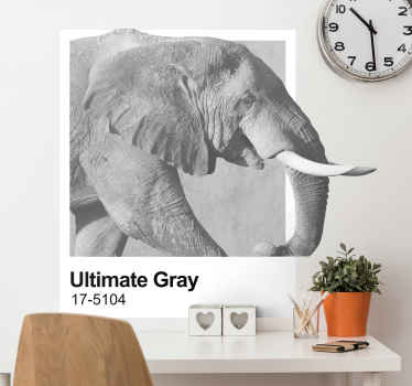 An amazing big grey elephant wall decal created on a frame background.  You can purchase this elegant animal wall art decal in any size needed.