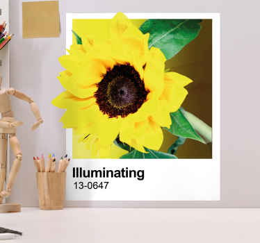 Yellow illuminating sunflower wall sticker decoration for your home and any other place.  It is original, durable and easy to apply.