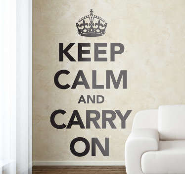 Keep Calm and Carry On wall sticker from our collection of UK wall stickers. The motivational line produced by the British government in 1939 in preparation for World War II. Contact us for a customised version.