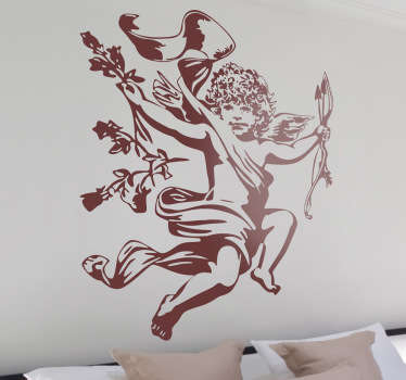 An original angel wall art sticker of Cupid holding his bow and arrow ready for some action for Valentine days.