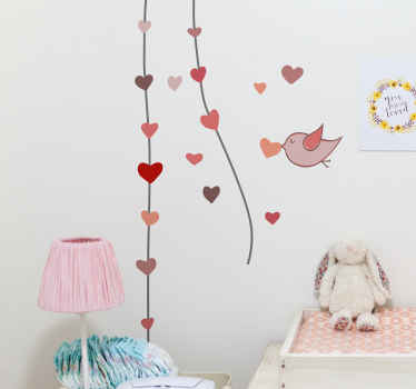 An illustration of a bird carrying a heart in its beak adding to a line of hanging hearts. A sweet design from our collection of heart stickers.