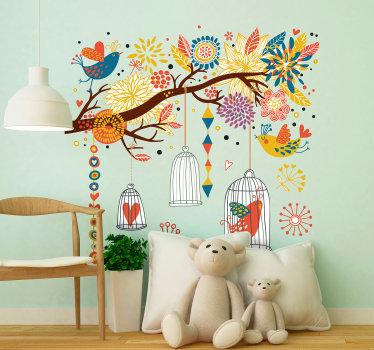 Sticker kleurrijke boom vogelkooi