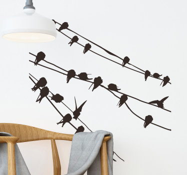 Wall Stickers - Birds resting between branches and telephone lines. A distinctive feature in any room. Available in various sizes and colours.