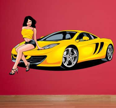 Naklejka żółte auto