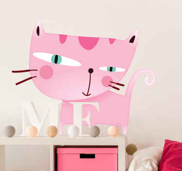 Wall Stickers - Fun illustration of a pink cat. Avaialble in a variety of sizes. Ideal for decorating any room.