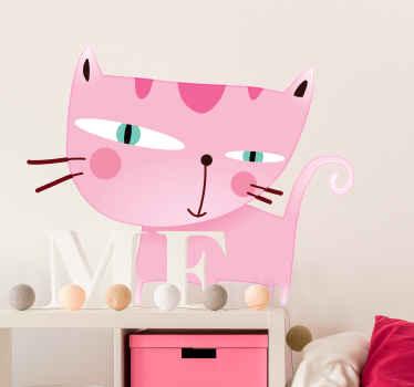 Sticker enfant dessin chat rose