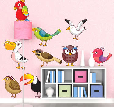 Kids Wall Stickers - Collection of various birds ideal for decorating areas for children. Fun and colourful.