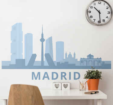 Precioso vinilo de Madrid skyline que muestra algunos importantes edificios altos y rascacielos de la ciudad ¡Fácil de colocar!