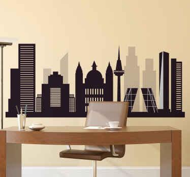 Precioso vinilo de Madrid con algunas ilustraciones de edificios altos y estructuras significativas. Hecho de material de calidad.
