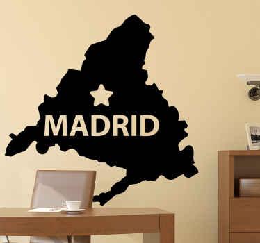 Vinilo mapa de la comunidad autónoma de Madrid. Un diseño de silueta representativa de Madrid, apto para cualquier lugar ¡Fácil de aplicar!