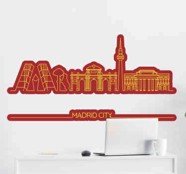 Lovely and decorative skyline decal of Madrid city. It is designed in sketchy colorful drawing illustration with the name tittle 'Madrid city'.