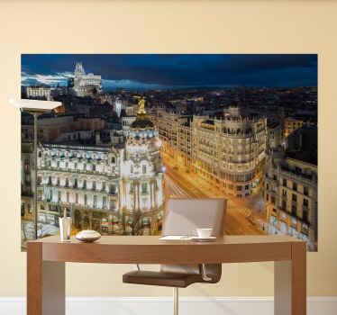 ¿Cuánto te encantaría decorar tu lugar con este vinilo 3D Madrid con alta definición de la gran vía al atardecer? ¡Cómpralo online ahora!