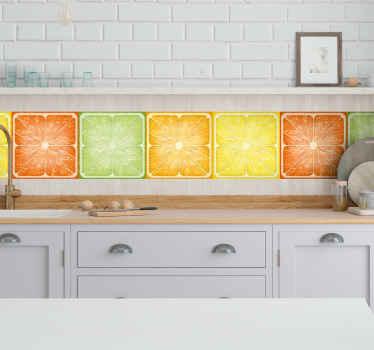 この驚くべきカラフルな柑橘系のテクスチャのボーダーデカールで、キッチンの壁面に沿って非常に細かいボーダーを置きます。適用が簡単で、耐久性があり、接着性があります。