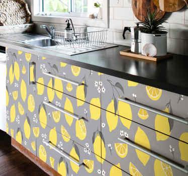 Enveloppez la surface de vos meubles de cuisine ou de tout autre meuble de la maison avec cet autocollant décoratif de meubles de fruits de citron.