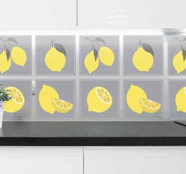 この素敵なトロピカルレモンタイルのステッカーで、キッチンの壁、バスルーム、または家のその他のスペースに素敵なボーダーを作りましょう。