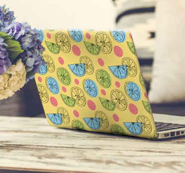 Vinilo para laptop de color amarillo con limones de diversos colores para que decores tu portátil de forma bonita y original ¡Envío exprés!
