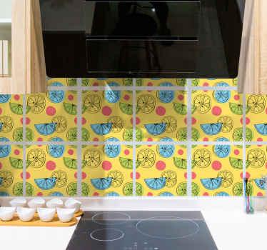 Autocollant de carreaux d'agrumes colorés pour la cuisine et d'autres espaces. Facile à appliquer et il peut être enlevé sans laisser de résidus.