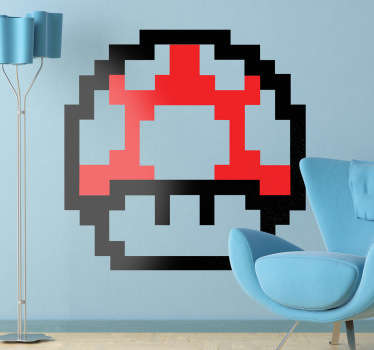 Room Sticker - Restore health with this pixelated 8 bit mushroom from the Super Mario Nintendo video game.Decals ideal for fans.