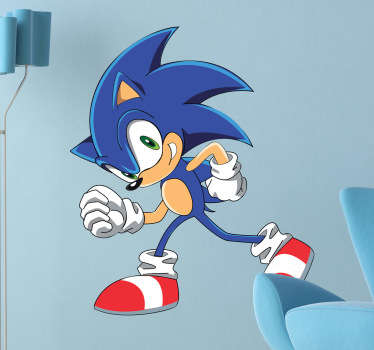 A cartoon decal of the famous character from the Saga videogames, Sonic! Be as fast as Sonic with this videogame wall sticker!