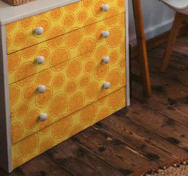 引き出し用オレンジ柄デカール。黄色の背景にオレンジ色のパターン。今すぐ簡単に家具を美しくしましょう!除去時に残留物がゼロ。