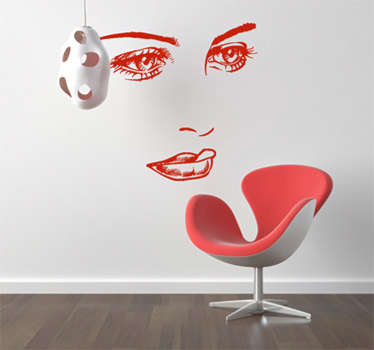 Decorative sticker of a woman´s nostalgic face. Fantastic decal to decorate any room of your house. Easy to apply and remove.