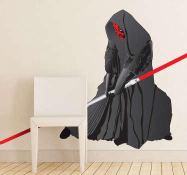Een leuke muursticker  van Dark Maul, het slechte personage uit de sage van de Star Wars films geregisseerd door George Lucas.