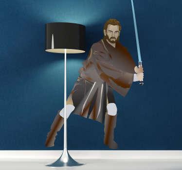 Pegatina decorativa de Star Wars. El poderoso instructor de la familia Skywalker, armado con una espada láser azul. Vinilo decorativo para los entusiastas de esta Saga que tantos seguidores y fans tiene.