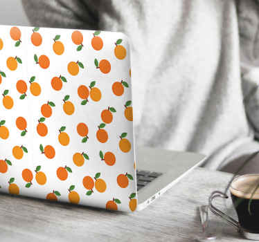 Cute decorative laptop decal with design of oranges to wrap any laptop back surface. Very easy to apply  and removable with ease.