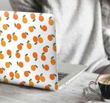 Adorable stickers décoratif pour ordinateur portable avec un design d'oranges pour envelopper n'importe quelle surface arrière d'ordinateur portable.