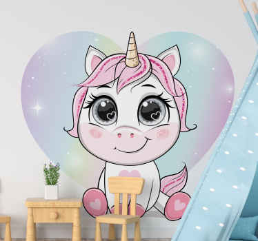 What amazing space you would be creating with this cute cartoon baby unicorn fairy tale wall decal with love heart background.