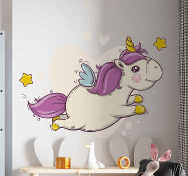 A cute little unicorn with purple tail and stars running. Add a lovely look and fun atmosphere on the space of your little one with this design.