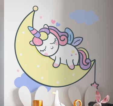 Fantastic illustration of fairy fantasy sticker design for children. The design illustrates a little unicorn sleeping on crescent moon.