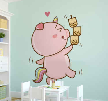 Little cartoon pig unicorn fairy tale sticker. Keep the room of your little one lively and fun with this cute children fairy tale illustration decal.
