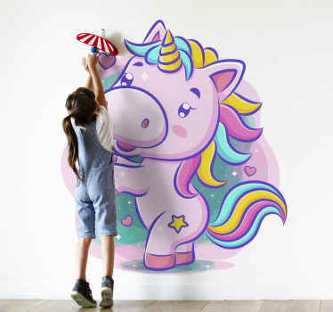 Smiling cartoon unicorn colorful fairy sticker - Lovely fantasy design to create a happy atmosphere in the room or nursery space of your young one.