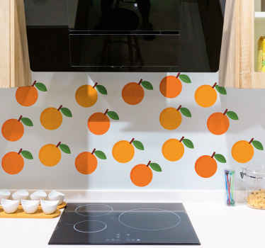 キッチンやその他の場所のためのカラフルで美しく見えるオレンジ色のフルーツデカール。茎にオレンジのこのセットを使用して、キッチンスペースに素敵な外観を追加します。
