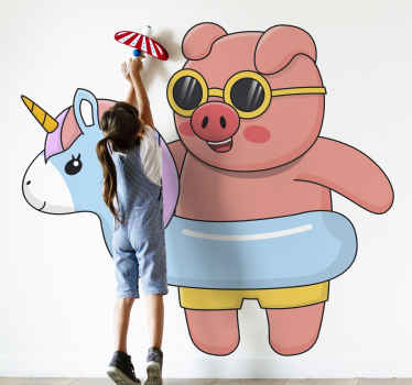 Order this unique design showing a pig wearing a unicorn swimming tool today for your child with this children wallsticker product! Buy it now!