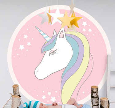 With a pink circle design and an unicorn with a rainbow mane in the middle this children wallsticker design would be perfect for your child!