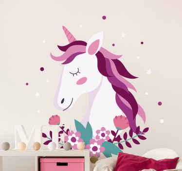 ¡Podemos asegurarle que su hijo estará feliz si le pide este vinilo para niñas con unicornio rodeado de flores! ¡Envío exprés a domicilio!