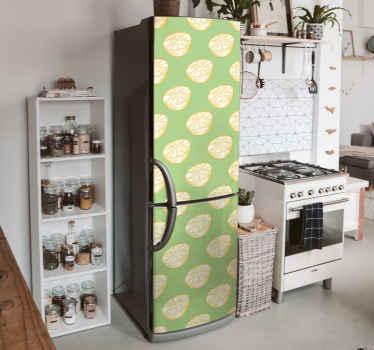 Fantásticos vinilo para refrigerador de cítricos dibujados a mano con fondo verde. Producto con medidas personalizables ¡Envío exprés!