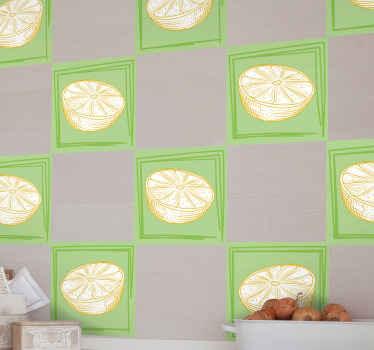 キッチンの壁、家具、その他のスペース用の手描きレモン柑橘系フルーツタイルステッカー。高品質のビニールで作られており、塗布が簡単で接着剤が付いています。