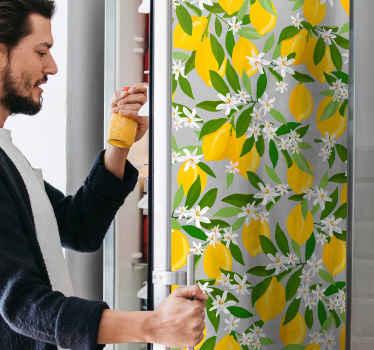 Vinilo para refrigerador de fruta de limón amarillo para nevera. Muy fácil de aplicar, original, autoadhesivo duradero y personalizable.